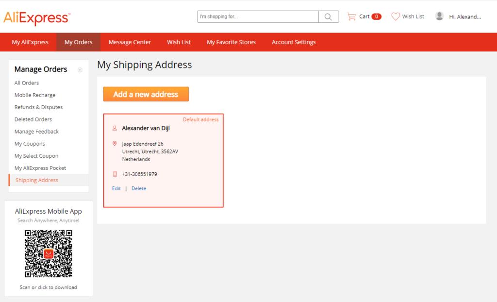 AliExpress adres invullen lukt niet